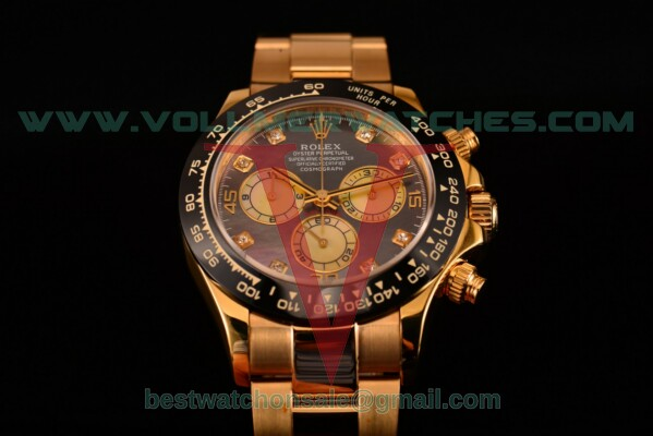 Rolex Daytona Chrono 7750 Auto Grey MOP Dial with Yellow Gold Case 116529 bd