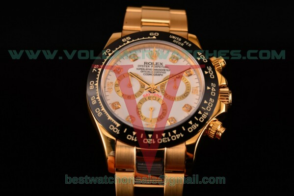 Rolex Daytona Chrono 7750 Auto White Dial with Yellow Gold Case 116529 whtd