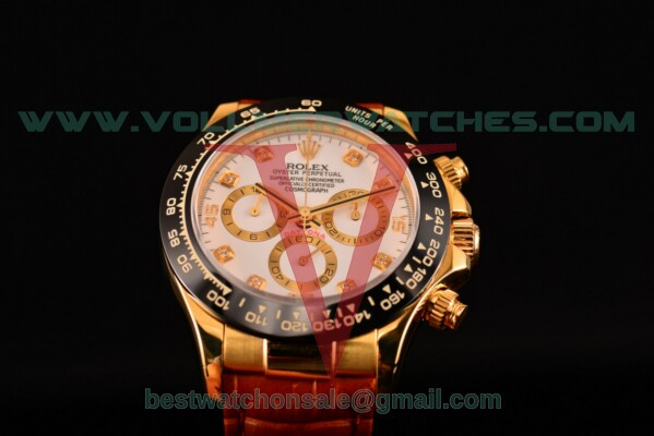 Rolex Daytona Chrono 7750 Auto White Dial with Yellow Gold Case 116515 LNwd (BP)