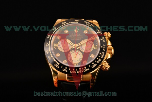Rolex Daytona Chrono 7750 Auto Black Dial with Yellow Gold Case 116515 LNblkd (BP)