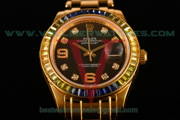 Rolex Datejust Pearlmaster 2813 Auto Black Dial with Yellow Gold Case 80289 pbd (BP)