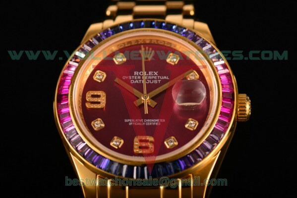 Rolex Datejust Pearlmaster 2813 Auto Purple Dial with Yellow Gold Case 80289 ppd (BP)