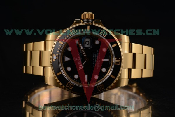1:1 Rolex Submariner 3135 Auto Black Dial with Yellow Gold Case 116618bk (BP)