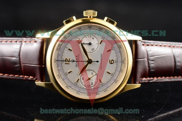 Rolex Pre Daytona Chronograph 7750 Manual Winding White Dial with Yellow Gold Case 4500(AAAF)