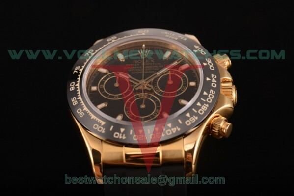 Rolex Daytona Chrono 7750 Auto Black Dial with Yellow Gold Case 116515 LNblsbr (BP)