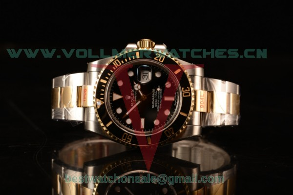 Rolex Submariner Two Tone Case Black Dial Dots Markers Two Tone Bracelet 116613BK
