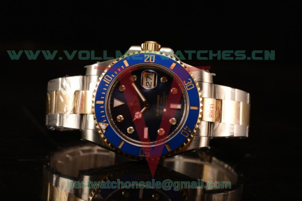 Rolex Submariner Two Tone Case Blue Dial Diamond Markers Two Tone Bracelet 116613BL