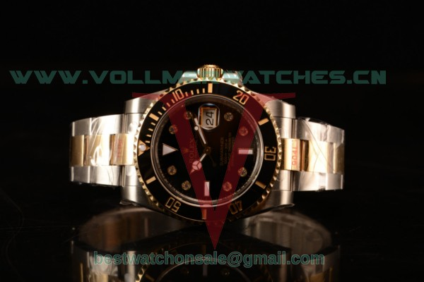 Rolex Submariner Two Tone Case Black Dial Diamonds Markers Two Tone Bracelet 116613BKD