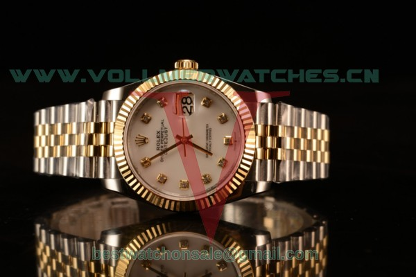 Rolex Datejust 37mm Swiss ETA 2836 Automatic Two Tone with White MOP Dial and Diamonds Markers