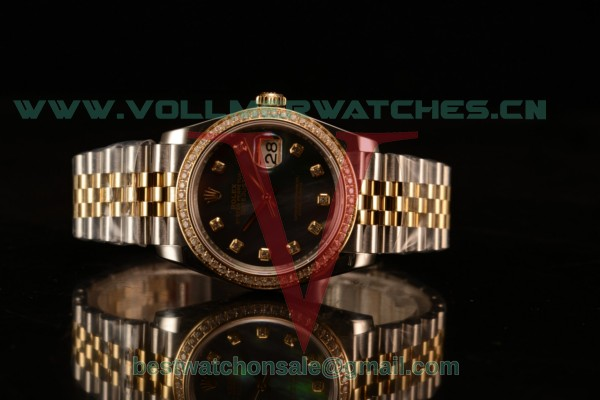 Rolex Datejust 37mm Swiss ETA 2836 Automatic Two Tone with Black MOP Dial and Diamonds Markers