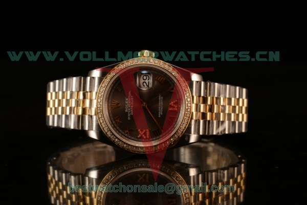 Rolex Datejust 37mm Swiss ETA 2836 Automatic Two Tone with Pink Dial and Roman Markers Diamonds Bezel