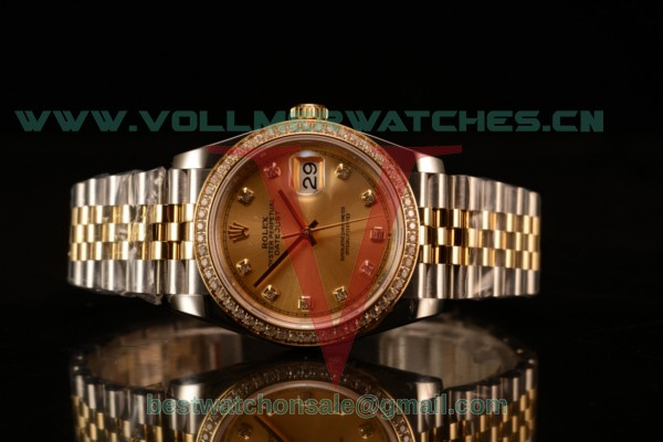 Rolex Datejust 37mm Swiss ETA 2836 Automatic Two Tone with Gold Dial and Diamods Markers Diamonds Bezel
