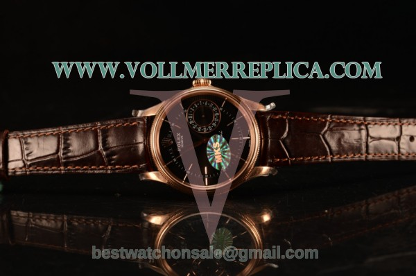 Rolex Cellini Date Black Dial Rose Gold Swiss ETA 2836 With Black Leather Strap 50515 bkbr