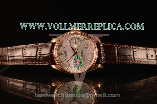 Rolex Cellini Date White Dial Rose Gold Swiss ETA 2836 With Black Leather Strap 50515 sbr