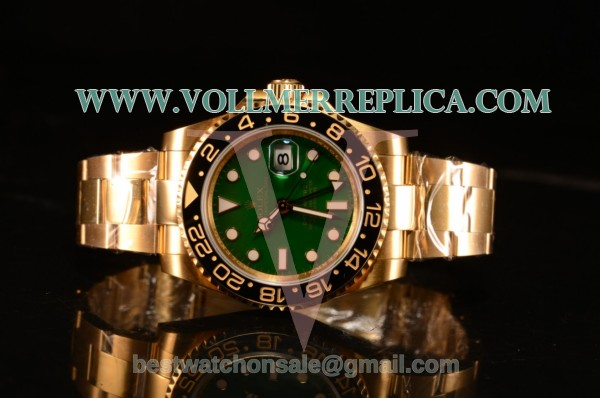 Rolex GMT-Master II Swiss ETA 2836 Automatic Yellow Gold Case With Ceramic Bezel Green Dial 116718LN