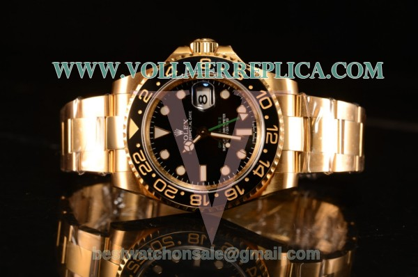 Rolex GMT-Master II Swiss ETA 2836 Automatic Yellow Gold Case With Ceramic Bezel Black Dial 116718 BK