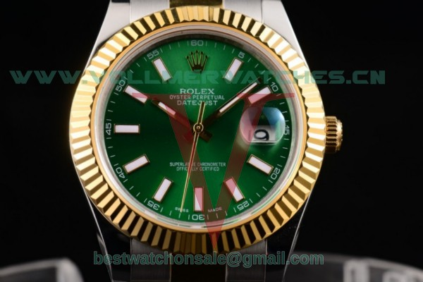 Rolex Datejust II 3135 Auto Green Dial with Two Tone Case 116233 greso