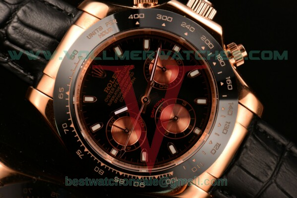 Rolex Daytona II 3836 Auto Black Dial With Rose Gold Case 116515 LNpsbc