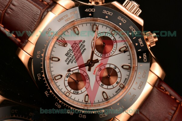 Rolex Daytona II 3836 Auto White Dial With Rose Gold Case 116515 LNwsbr