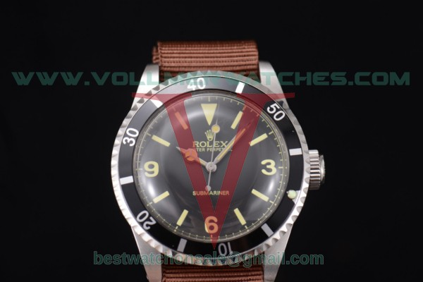 Rolex Submariner Vintage 2813 Auto Grey Dial Brown Nylon Strap With Steel Case 5513