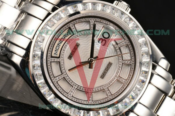 Rolex Day-Date Masterpieces ETA 2836 Auto White MOP Dial With Steel Case 18946 WMD(BP)