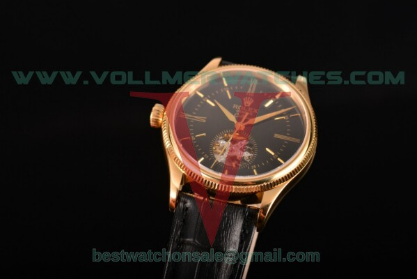 Rolex Cellini 2824 Auto Black Dial With Yellow Gold Case 55045