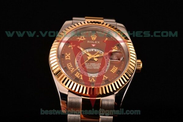 Rolex Sky-Dweller Asia Automatic Brown Dial With Yellow Gold/Steel Case 326937 brwro