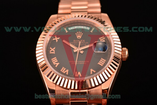 Rolex Day-Date Clone Rolex 3156 Automatic Black Dial With Rose Gold Case 326941 blkrp(BP)