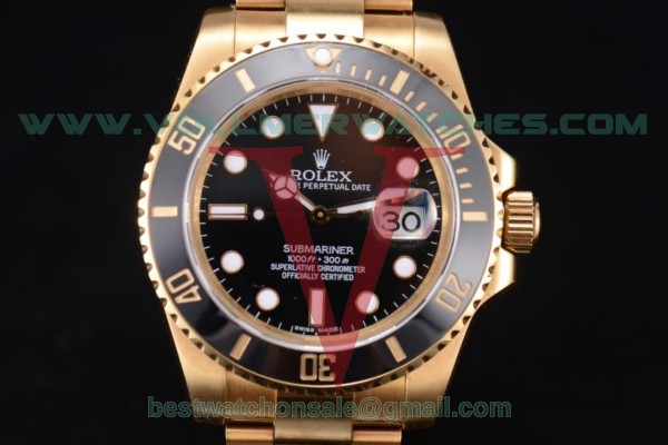 Rolex Submariner 2836 Auto Black Dial With Yellow Gold Case 116618 bk(BP)