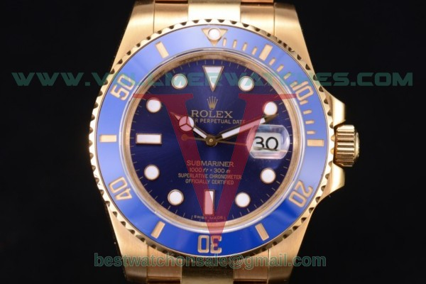 Rolex Submariner 2836 Auto Blue Dial With Yellow Gold Case 116618 blu(BP)