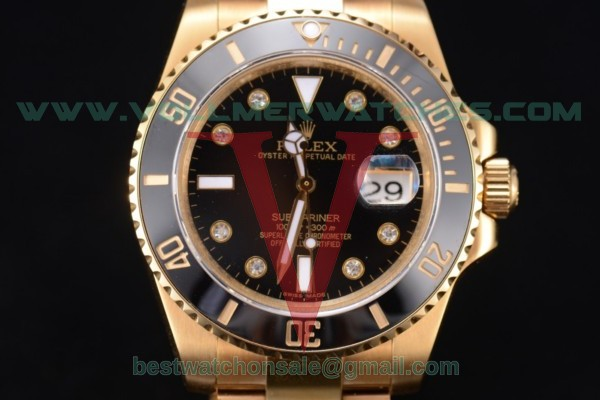Rolex Submariner 2836 Auto Black Dial With Yellow Gold Case 116618 bkd(BP)