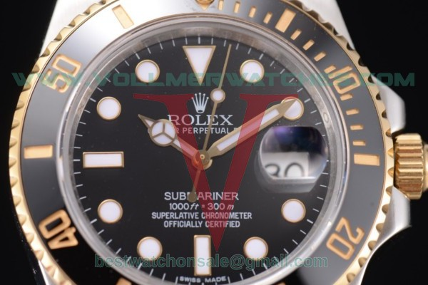 Rolex Submariner 2836 Auto Black Dial With Two Tone Case 116613 bk(BP)