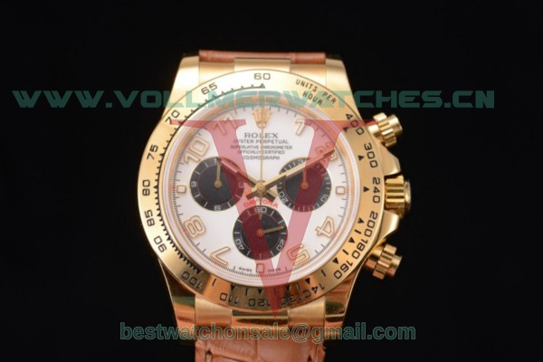 Rolex Cosmograph Daytona Chrono Clone Rolex 4130 Auto White Dial With Yellow Gold Case 116518 ywha (EF)