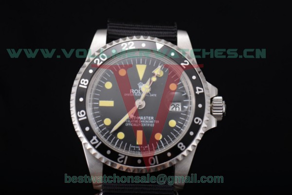 Rolex GMT-Master 2813 Auto Black Dial With Steel Case Black Nylon 11673007N