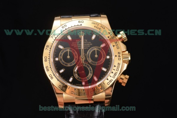 Rolex Cosmograph Daytona Chronograph Clone Rolex 4130 Auto Black Dial With Yellow Gold Case 116518 (BP)