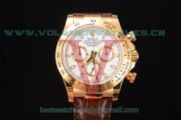 Rolex Cosmograph Daytona Chronograph Clone Rolex 4130 Auto White Dial With Yellow Gold Case 116518 (BP)