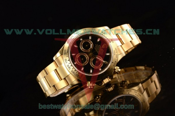 Rolex Daytona 4130 Auto Black Dial With Yellow Gold Case m116508-0009