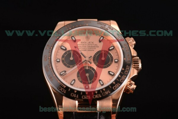 Rolex Daytona Chrono 7750 Auto Rose Gold Dial with Rose Gold Case - 116515 LNpsbr (JF)