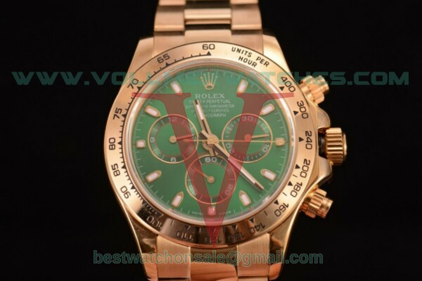Rolex Daytona Chrono 7750 Auto Green Dial with Yellow Gold Case 116505 ges - (BP)