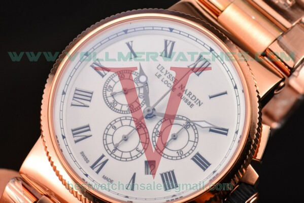 Ulysse Nardin Maxi Marine Chrono 7750-SHG Auto White Dial with Rose Gold Case 1506-150-8R/61 (EF)