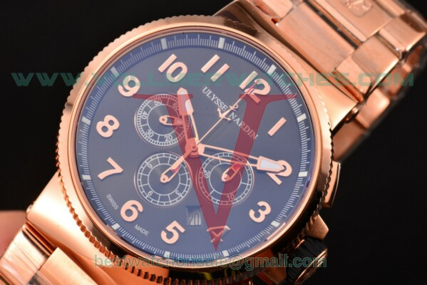 Ulysse Nardin Maxi Marine Chrono 7750-SHG Auto Black Dial with Rose Gold Case 1506-150-8B/61 (EF)