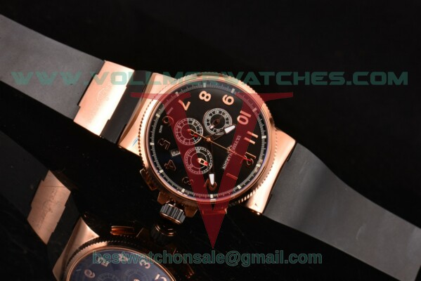 Ulysse Nardin Maxi Marine Chrono 7750-SHG Auto Black Dial with Rose Gold Case 1506-150-3/65 (EF)
