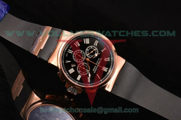 Ulysse Nardin Maxi Marine Chrono 7750-SHG Auto Black Dial with Rose Gold Case 1506-150-3/63 (EF)