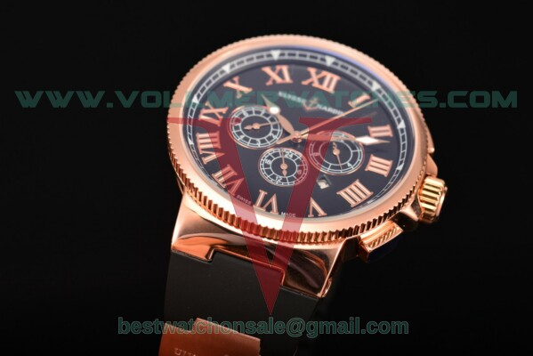 Ulysse Nardin Marine Chronograph Asia Auto Black Dial with Rose Gold Case 1503-151-3/65