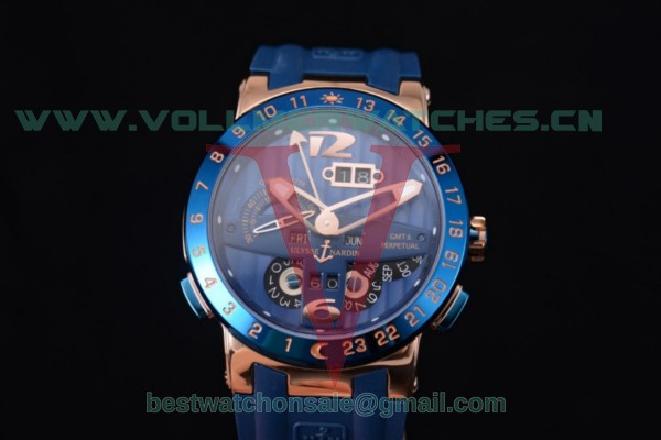 Ulysse Nardin Executive Dual Time & Big Date ST25 Auto Blue Dial With Rose Gold Case 251-00/44