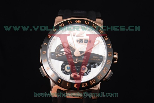 Ulysse Nardin Executive Dual Time & Big Date ST25 Auto White Dial Black Bezel With Rose Gold Case 251-00/43