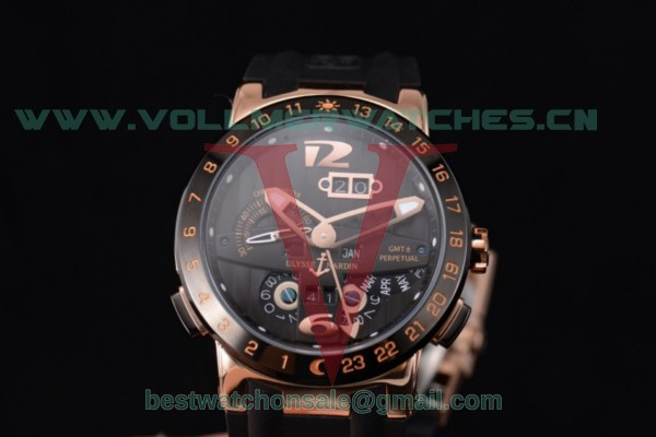 Ulysse Nardin Executive Dual Time & Big Date ST25 Auto Black Dial Black Bezel With Rose Gold Case 251-00/42