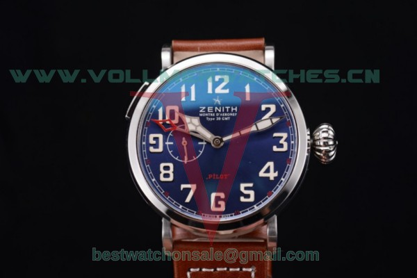 Zenith Pilot Type 20 GMT ST25 Auto Blue Dial With Steel Case 96.2436.693/51.c780