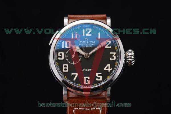 Zenith Pilot Type 20 GMT ST25 Auto Black Dial With Steel Case Brown Leather Strap 03.2430.693/21.C724